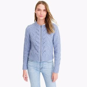 NWT J Crew Point Sur Chunky Cable Zip Up Cardigan